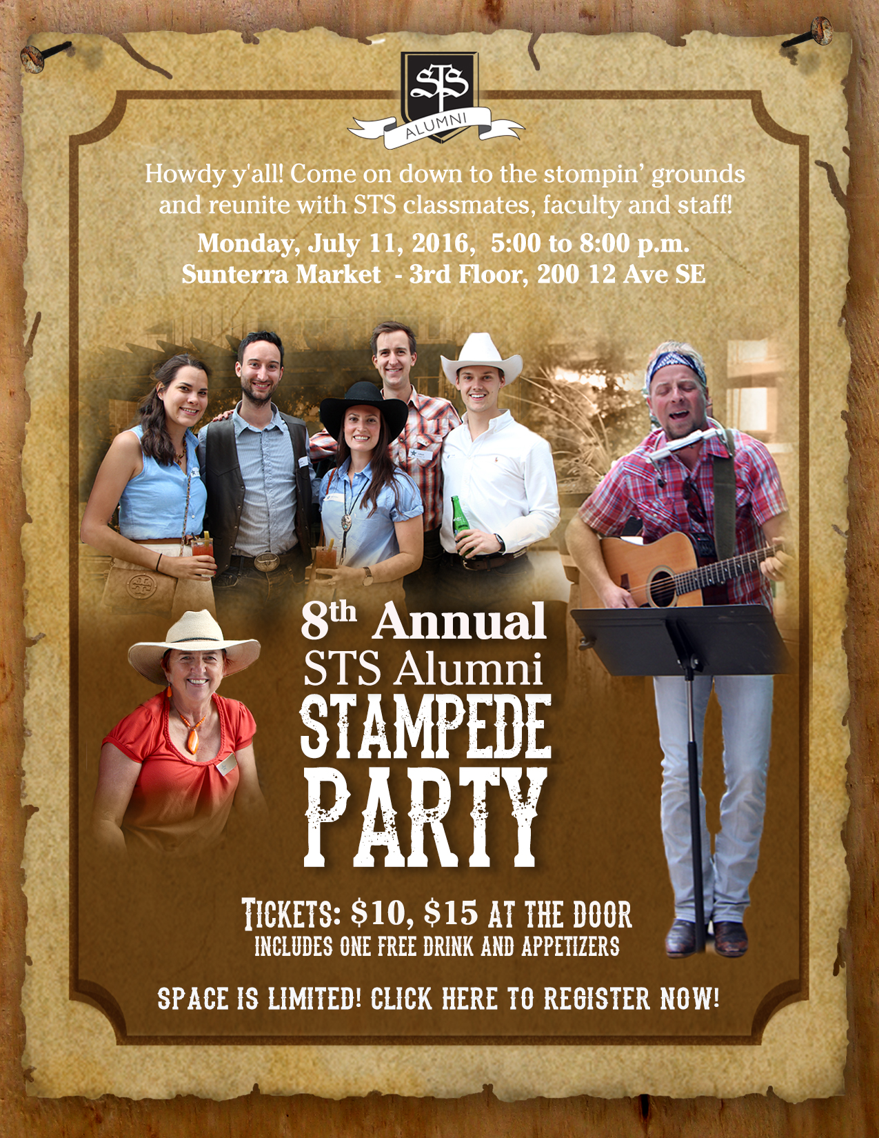 8th Annual STS Alumni Stampede Party Invitation